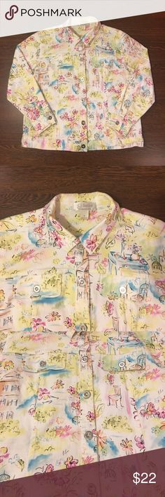 C.J. Banks Floral Button Up Shirt Women's Size X C.J. Banks Floral Button Up Shirt. Women's Size X. Shoulders 18 Inches. Length 26 Inches. Sleeves 16 Inches. Lightly Worn. In Great Pre Owned Condition. C.J. Banks By Christopher & Banks  Tops Button Down Shirts