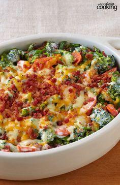 Creamy Broccoli-Bacon Bake #recipe