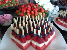 Fourth of July-Food idea-One of the most attractive fruit displays is this watermelon, honeydew, raspberry and blueberry fruit skewers. This would be perfect on July for America's Independence Day Fourth Of July Food, 4th Of July Party, July 4th, Holiday Treats, Holiday Recipes, Fruit Skewers, Blueberry Fruit, Snacks Für Party, Fruit Party