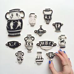 Image of Miniature ceramic vase brooches