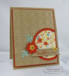 hand crafted thank you card from Kendra's Card Company ,,, kraft with embossing folder texture ... burnt orange mats & die cut flower ... pretty pattened paper sets the colors ... like it!