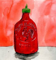 food on paper, sriracha by elizabeth graeber.