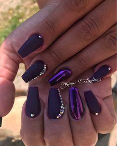 Purple matte nails