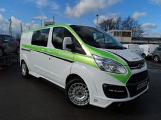 Used 2016 Ford Transit Custom 290 L2 M-SPORT Double Cab Van 2.2 TDCI 155PS in Frozen White with Full Lime Green Rally Sticker Pack & Hyper Silver Wheels Ready for sale in Bedfordshire | Pistonheads