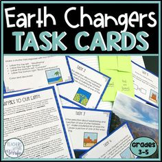 Earth Changers featuring Erosion and Weathering Study Of Earth, Weathering And Erosion, Text Features, Reading Passages, Vocabulary Words, Interactive Notebooks, Task Cards, Students, Knowledge