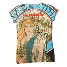 "Amazon.com: ArtsyClothingCo-""Art Nouveau 002"" Art Womens Top- Deco Romantic C-Neck T-Shirt Top: Clothing"