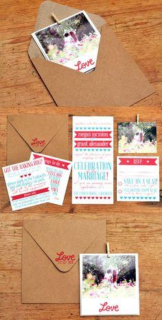 DIY Polaroid inspired wedding invitations.