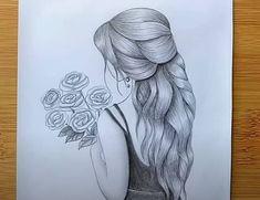 Pencil Sketch Tutorial, Pencil Sketches Easy, Pencil Drawings Of Flowers, Pencil Drawings Of Girls, Pencil Sketch Drawing, Girl Drawing Sketches, Art Drawings Sketches Simple, Beautiful Pencil Sketches, Pencil Shading