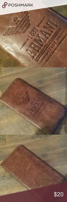 Armani wallet Brown leather Giorgio Armani men's wallet. Dimensions : 7×3.5in. Armani Bags Wallets
