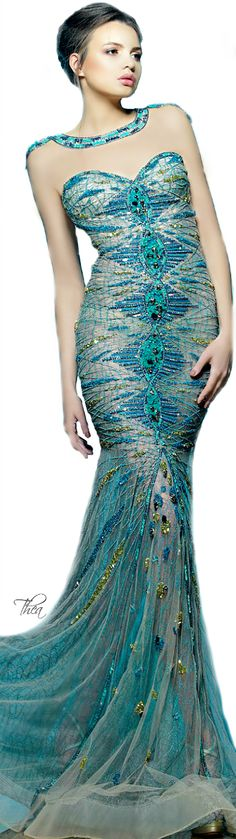 """Saiid Kobeisy ● SS 2015 Don't like the """"snake looking"""" neck part, but the dress is fab."""