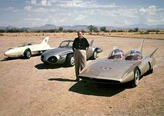 Harley Earl and his three GM Firebird concept cars: the I, II, and III (1958)