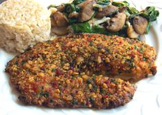Im not fond of fish, but even I like this dish.  Tilapia is mild, and the spicy crust is very appealing.  I like to make the crumb crust in bulk and freeze in meal sized amounts.  Then this becomes a super quick weeknight meal.