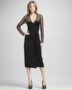 Zalda Lace-Yoke Wrap Dress by Diane von Furstenberg at Neiman Marcus.