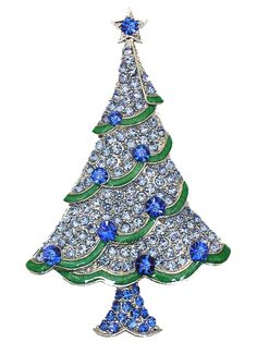 Gorgeous Sapphire Color Blue Crystal Christmas Tree Pin Brooch A146 #Faship #PinBrooch #Christmas