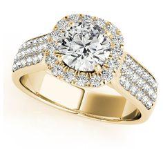 Allurez Three Row Round Halo Diamond Engagement Ring 14k Yellow Gold... ($6,015) ❤ liked on Polyvore