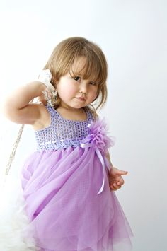 Lavender and Lilac Baby Tulle Dress with Empire di AylinkaShop
