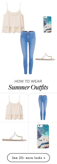 """How to wear summer outfits"" by sydneyallen1025 on Polyvore featuring MANGO, Gray Malin, Ancient Greek Sandals and Paige Denim"