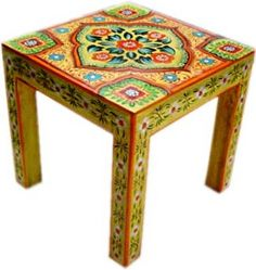 Hand painted furniture from India- you could totally do this with an ikea table