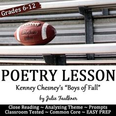 """Poetry Close Reading Lesson: """"The Boys of Fall"""" Football,"""