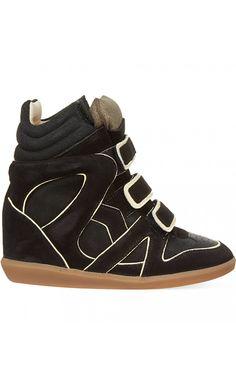 Isabel Marant Etoile Wila Suede Wedge Sneakers Black - Isabel Marant