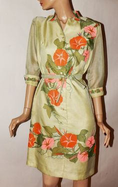 Vintage Alfred Shaheen 1970s Sheath Dress. by RecyclingTheBlues