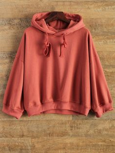 Drop Shoulder Drawstring Hoodie in Red | Sammydress.com
