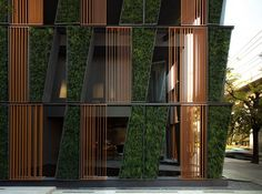 hotel facade The condiminium sale office in Bangkok by Sansiri is wrapped in a vertical garden full of Tokyo Dwarf. Exterior Wall Design, Office Wall Design, Facade Design, Architecture Design Concept, Green Architecture, Architecture Details, Sustainable Architecture, Bangkok, Building Facade
