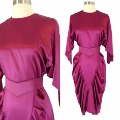 Vintage 80s 40s Magenta Pink Draped Ruched Wiggle Dress S Satin Fishtail #AllThatJazz ~ LOVE the 40s style, but HATE the colour!  I would LOVE to make a dress like this in a different colour .  . . Kelly Green, mayhaps?  ;)
