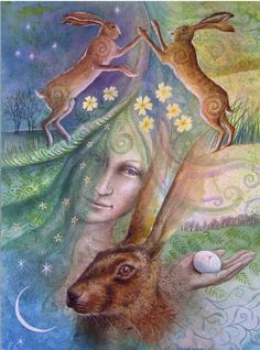 """""""Eostre and the Hare's Egg"""" by Wendy Andrew (04/19/14)"""