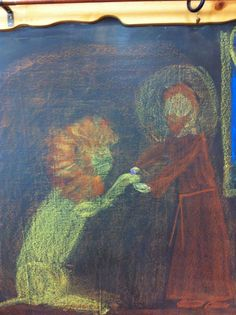 Waldorf ~ grade ~ Saint Stories ~ Saint Jerome and the Lion ~ chalkboard drawing Blackboard Drawing, Chalkboard Drawings, Crayon Drawings, Chalk Drawings, Grade 2, Second Grade, Nature Story, St Jerome, Form Drawing