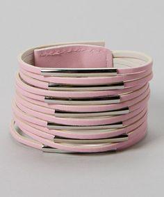 Look what I found on #zulily! Pink & Silver Tube Bracelet by Sweet Indigo #zulilyfinds