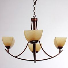 Chandelier, 4 Light, Rustic Archaistic Iron Glass Painting - CAD $ 372.39