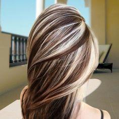 Chunky Blonde Highlights On Brown Hair . Chunky Blonde Highlights On Brown Hair . Ombré Hair, New Hair, Curly Hair, Hair Dye, Great Hair, Gorgeous Hair, Amazing Hair, Pretty Hairstyles, Latest Hairstyles