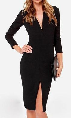 Black V Neck Long Sleeve Split Pencil Dress LBD