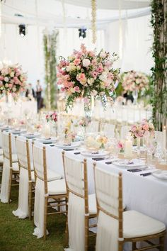 Romantic Thailand Destination Wedding is part of Wedding chairs - Photographed by Sandra Aberg, this stylish, elegant wedding at Point Yamu By Como was full of lush flowers and decor in shades of blush, gold, and cream Wedding Chair Decorations, Wedding Table Centerpieces, Wedding Chairs, Wedding Themes, Wedding Designs, Wedding Reception, Wedding Venues, Wedding Ideas, Centrepieces