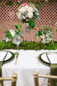 Today's nature inspired west coast shoot has tons of inspiration! In this feature you are going to see lots of natural greens which is perfect since. Wedding Blog, Wedding Day, Forest Scenery, Spring Wedding Inspiration, Beautiful Table Settings, Enchanted Garden, Twinkle Lights, Greenery, Table Decorations