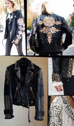 Inspiración DIY: customiza tu chaqueta de cuero (Dare to DIY) : Inspiración DIY: customiza tu chaqueta de cuero Fashion Details, Diy Fashion, Fashion Outfits, Womens Fashion, Fashion Tips, Fashion Design, Fashion Ideas, Diy Leather Jacket, Looks Style