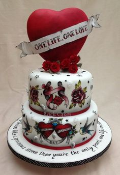 Tattoo wedding cake from-- https://www.facebook.com/Rock.Cakes.69