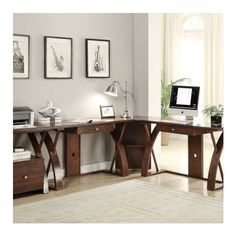 Finley Office Collection Two Desks & One Corner | Jerome's Furniture ($100) ❤ liked on Polyvore featuring home, furniture and desks