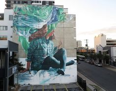 FINTAN MAGEE – Artists Fintan Magee made this mural in his motherland Australia. His piece 'Head in the clouds' can be found on the streets of Brisbane.