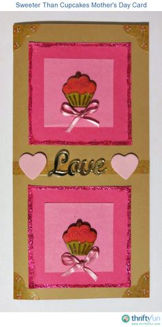 The cupcake motif on this cute Mother's Day card is sure to be a hit with Mom. This is a guide about handmade Sweeter than Cupcakes Mother's Day card. Dash Of Glitter, Pink Glitter, Purple Pen, Card Ui, Cupcake Card, Photo Corners, Mother's Day Diy, Diy Cards, Handmade Cards