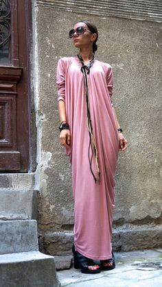 XXL,XXXL,Maxi Dress  Asymmetric Kaftan / Long Dress / Delicate Ash Rose / Loose…