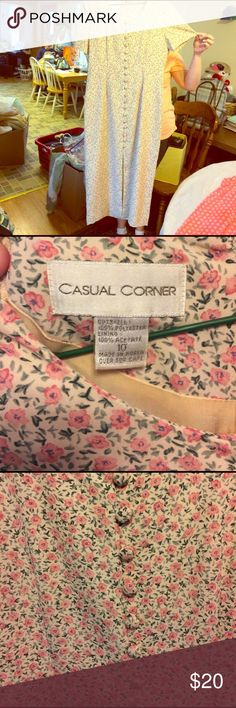 Cream dress w/ lt pink flowers, mid-calf, EUC Cream dress w/ lt pink flowers, mid-calf, EUC, dry clean only, separate lining, no flaws Casual Corner Dresses Maxi