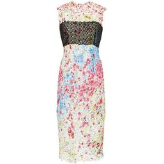 Monique Lhuillier Floral Splatter Lace Sheath Dress (24 690 SEK) ❤ liked on Polyvore featuring dresses, lace overlay dress, white scalloped dress, sheath dress, sleeveless sheath dress i sleeveless lace dress