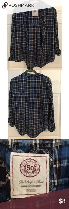 Blue Plaid Button Down Shirt Large Blue Plaid Button Down, 2 Breast Pockets, 100% Cotton, Long Sleeved. So Perfect Shirt Tops Button Down Shirts