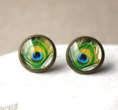 Peacock Stud Earrings or Clip on Earrings Feather earstuds clipons small glass clip ons for her Boucles D'oreilles Europeanstreetteam E531 on Etsy, $14.00