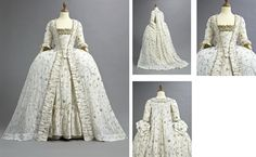 A FINE AND RARE EMBROIDERED COURT GOWN 1770S fine white Indian muslin with silver metal embroidery, the robe sack-back with train and scalloped cuffs to the sleeves, matching ruched robings, the cuffs and robings edged in delicate silver thread chain; the matching petticoat of silk to the upper back and tiered at the front bottom; the stomacher to a linen ground and trimmed with wide silver tape.