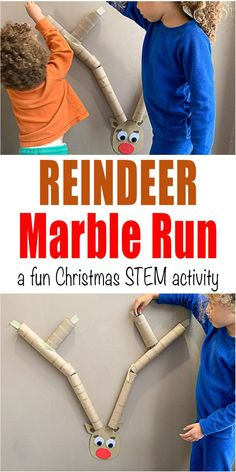 holiday activities Reindeer Marble Run - HAPPY TODDLER PLAYTIME Here is a fun Holiday version of the classic kids STEM activity. Create a reindeer marble run for your toddler and preschooler! Christmas Activities For Kids, Preschool Christmas, Toddler Christmas, Christmas Fun, Stem For Kids, Toddler Preschool, Young Toddler Activities, Toddler Learning, Toddler Crafts