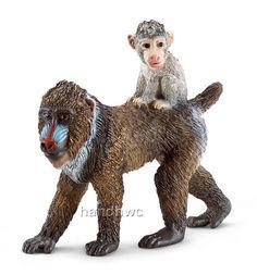 Schleich 14716 Mandrill Female with Baby Monkey Toy Model Animal NIP | eBay