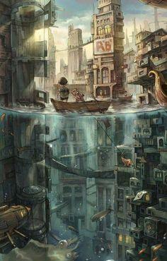 "steampunksteampunk: "" Pig Fish Illustrations by Wang Canazai """